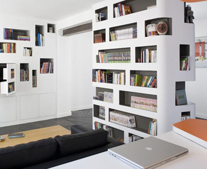 Parete Divisoria Libreria : Parete divisoria libreria in cartongesso con porta e librerie